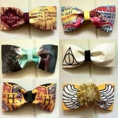Harry Potter bow-ties or hair bows- I NEED to make these especially the deathly hallows one! Harry Potter Merchandise, Theme Harry Potter, Harry Potter Outfits, Harry Potter Love, Harry Potter Fandom, Kawaii, Hogwarts, Hair Bows, Hair Ribbons