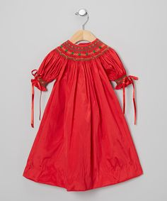 Take a look at this Red & Green Tree Silk Bishop Dress - Infant & Toddler on zulily today!