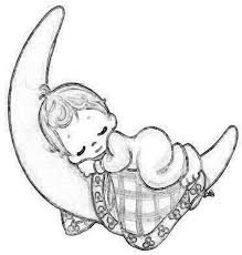 Quarter Moon With Baby Sleeping Coloring Page Line Art Drawing