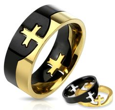 316L Stainless Steel Mens 2-Tone/Black/Gold IP Cross Puzzle Ring Size 10 (3292A) #Spikes #Band