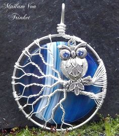 Wire Wrapped Owl Pendant with Blue Agate Super Moon and Genuine Sapphire Swarovski Crystals