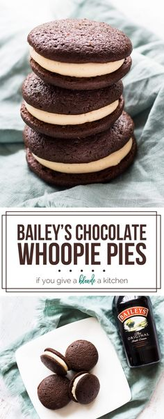 Baileys Schokoladen-Whoopie Pies - My Best Baking Recipes - Easy Cookie Recipes, Easy Desserts, Baking Recipes, Sweet Recipes, Delicious Desserts, Dessert Recipes, Baking Pies, Irish Recipes, Chocolate Whoopie Pies