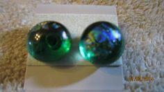 PURPLE ON MOSS GREEN GLASS SURGICAL STEEL POST STUD EARRINGS   Imaginative_Creations - Jewelry on ArtFire