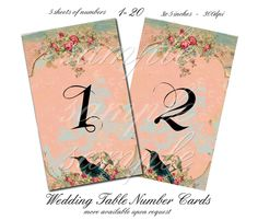Vintage Wedding Table Number Cards - 3 x 5  -  Printable Digital Collage Sheet - Digital Download by CountryAtHeart2008 on Etsy https://www.etsy.com/listing/127437016/vintage-wedding-table-number-cards-3-x-5