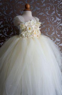 Flower girl dress Ivory tutu dress, flower top, baby tutu dress, toddler tutu dress. $70.00, via Etsy.