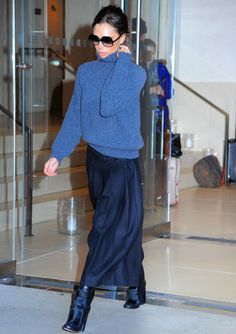 Victoria Beckham Adds Glamour To Her Cosy Knit With A Silk Maxi Skirt, 2016 Fashion Mode, Modest Fashion, Look Fashion, Star Fashion, Autumn Fashion, Womens Fashion, Feminine Fashion, Apostolic Fashion, Fashion Tag