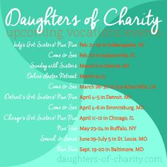 Upcoming #DaughtersofCharity Vocations Events in 2014!