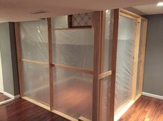 Prior to floor/ceiling coverings and zipper door. Modular break down paint booth. Spray Tan Booth, Tanning Booth, Basement Painting, Paint Booth, Ceiling Coverings, Kitchen Cabinet Remodel, Floor Ceiling, Basement Flooring, Painting Cabinets