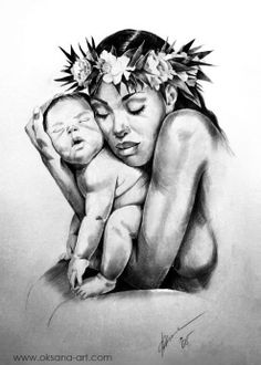 """Mother's Love - II"" --- Drawing, Portrait, Pencil, Charcoal, Art, Sketch, Love, Face, Baby, Child, Boy, Girl, Infant, Adorable, Mother's Day, Father's Day, Gift, Beautiful, Happy Birthday, Mother, Father, Family, Joy, Laugh, Delight, Divine, Happy, Heaven, Godly, Heaven, Paradise, Warmth, Depth, Heart, Soul, Spirit, Strength, Butterfly, Flower, Lei, Tahiti, Polynesia, Cook islands, Fiji, Proverb, Quote, Rich, Luxury, Travel, Oksana-Art"