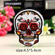 Fashion Unique 20 pcs/Lot color skull Embroidered Cloth Iron On Patch Sew Motif Applique Creative DIY