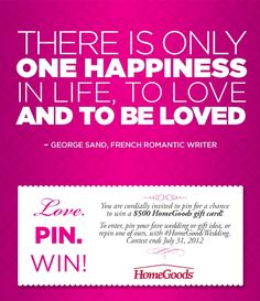 Pin to win a $500 HomeGoods gift card! #HomeGoodsWedding - Repin to win!