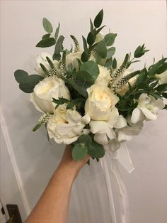 David Austin roses eucalyptus bridal bouquet