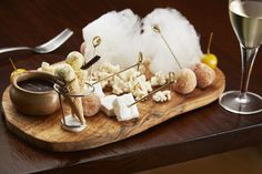 Our fabulous fairground dessert pate: mini forms of toffee apple, doughnuts, ice cream cone, marshmellow, candyfloss, sweet popcorn and dipping sauce!