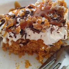 The Best Pumpkin Cake You Will Ever Eat! Seriously, you must make this cake recipe this fall! The actual cake part is from a mix! Super Easy!
