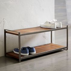 $149 Industrial Shoe Rack- this would work perfectly in the entry beneath that cool hook/mirror/shelf combo you sourced