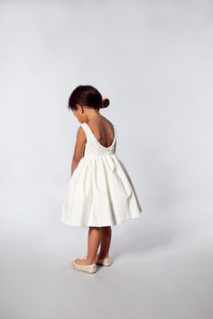 For Rachel - Ivory Flower Girls Dress - Pleat Detail and Low Back