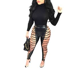 dbb3a64559 SportsX Women s Long Pants High Sexy Hi-Waist Leather Playsuit Bodysuit  Black XS