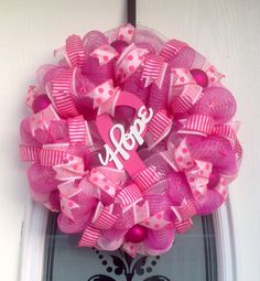 "22"" Pink Deco Mesh Hope Breast Cancer Awareness Wreath"