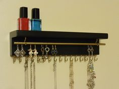 MANY OTHER COLORS - Jewelry Holder - Jewelry Organizer - 16 Display Hooks - Earring Bar - Top Shelf - Ready To Hang by BriarRidgeCreation on Etsy