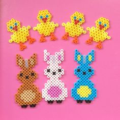 Easter hama perler beads by kreajoan Perler Beads, Fuse Beads, Bunny Crafts, Easter Crafts, Crafts For Kids, Pearler Bead Patterns, Perler Patterns, Hama Beads Design, Iron Beads