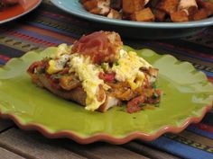 Piperrada has many variations, but it always includes tomatoes and peppers cooked in olive oil. Bobby Flay makes his hearty enough for a main course by adding scrambled eggs, Serrano ham and serving it atop toasted country bread.