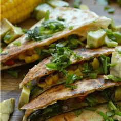 These Veggie Quesadillas will be your new favorite appetizer or easy weeknight meal! Large flour tortillas are loaded with my favorite veggies and a Creamy Garlic Cilantro Sauce that I have also been dipping all my chips in, thankyouverymuch. Mexican Food Recipes, Vegetarian Recipes, Cooking Recipes, Healthy Recipes, Ethnic Recipes, Mexican Meals, Healthy Foods, Cilantro Garlic Sauce, Creamy Garlic Sauce