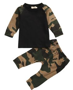 Aliexpress.com : Buy Newborn baby  2016 Spring Autumn Clothes Baby Boys Camouflage T shirt Top+Pants Leggings Outfit Set from Reliable pants gloves suppliers on spring  summer  autumn winter
