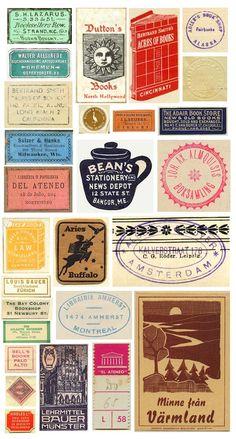 vintage book labels