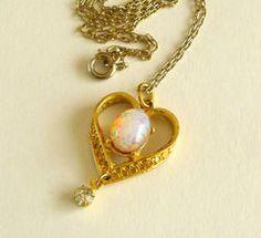 Vintage Fire Opal Heart Pendant Necklace