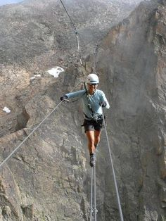 Via Ferrata is my dream hike/climb. It is in the Dolomite mountains in Italy, it has a great history behind it, and it is gorgeous. PP-I would never have the nerve to do this! Scary Places, Places To Visit, The Places Youll Go, Trekking, Mountains In Italy, Scary Bridges, Escalade, Kayak, Extreme Sports