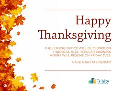 Please note that our leasing office will be closed tomorrow. We will be open for regular business hours on Friday. Happy Thanksgiving from your Capella Team! 3 Bedroom Floor Plan, Leasing Office, Bedroom Flooring, Luxury Apartments, Happy Thanksgiving, Renting A House, Friday, Note, How To Plan