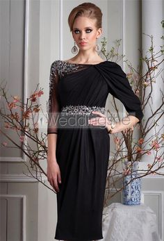 Charming Sequins/Beading Ruched A-Line Jewel Neckline Knee-Length Mother Dress(Free Shipping)