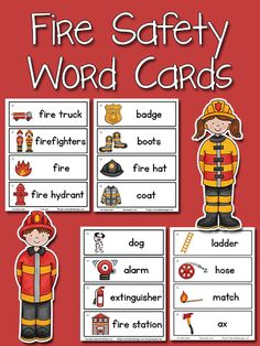 Fire Safety Word Cards: free printable from PreKinders