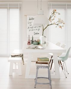 Bright and white dining room. Pastel. Chairs. Home. Interior. Decor. Desig.