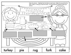Freebie!! Enjoy your Thanksgiving labeling activity page. Color the picture. Highlight the first letter in each word. Make the sound that the letter makes to help you read the words. Cut out the words and paste them to label your picture. Perfect for morning work or small groups. Other labeling activities available!