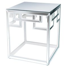 Mirrored+side+table+with+fretwork+trim.+  Product:+Side+tableConstruction+Material:+Mirrored+glass+and+wood