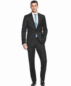 Calvin Klein X Suit Solid Wool Charcoal Slim Fit
