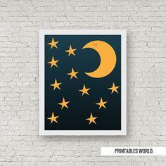 Moonlight Printable Poster Instant Download by PrintablesWorld Modern Artwork, Star Sky, Moonlight, Nursery Decor, Typography, Printables, Night, Poster, Inspiration