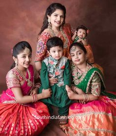 Viranica Manchu and her four kids dolled up in beautiful traditional outfits for a recent family wedding. manchu vishnu family photos, kids names, kids Kids Dress Wear, Dresses Kids Girl, Kids Wear, Baby Dresses, Kids Ethnic Wear, Baby Boy Ethnic Wear, Kids Blouse Designs, Baby Boy Dress, Kids Dress Patterns