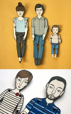 personalized paper dolls by jordan grace owens - would look great pinned in a shadow box