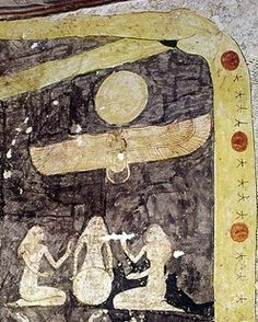 Isis and Nephthys as midwifes of Nut in her labour. Book of the Day. Tomb of Ramses IX. Ancient Egypt. Thebanmappingproject