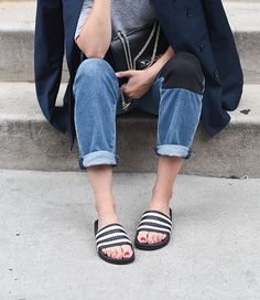 oh my! Adidas slides never looked so chic!