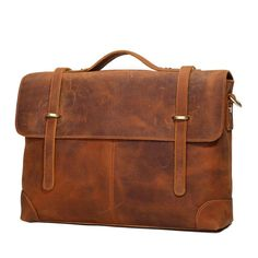 ROCKCOW High Quality Genuine Leather Briefcases 14'' Laptop Briefcase Business Zipper Brown Handbag 0342