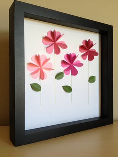 Pink Flower 3D paper art that can be personalized by PaperLine