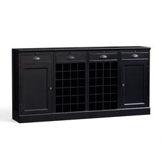 4-Piece Modular Bar Buffet (2 wine grid bases & 2 wood door cabinet base), Black