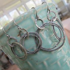 Medium Sterling Silver Hoop Earrings Funky Stamped Dots by artdi, $67.00