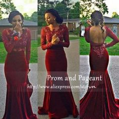 Mermaid Velvet Burgundy Prom Dresses 2016 Long Sleeves Backless Evening Gowns