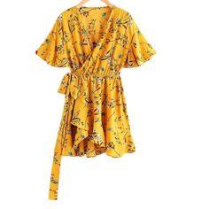 Women s Summer Floral Print Surplice Self Tie Waist Dress Yellow V Neck  Short Sleeve Elegant A Line Dress 6246038b8