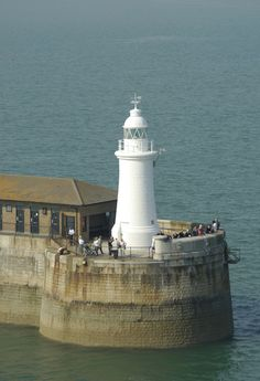 A white lighthouse off the coast of Dover, 1843. | PlanetWare