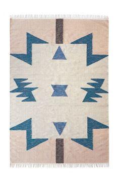 Ferm Living Kelim Rug Blauwe Triangles - 140 x 200 cm